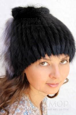 женские меховые шапки из натурального меха норки песца и чернобурки
